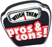Pros Cons Weigh Benefits Risks — Stock Photo