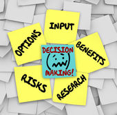 Decision Making Sticky Notes Input Options Risks Benefits Resear — Stock Photo