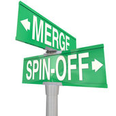Merge Vs Spin-Off Words Two Way Road Signs — Stock Photo