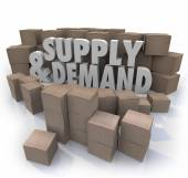 Supply and Demand 3d Words Cardboard Boxes Inventory — Stock Photo