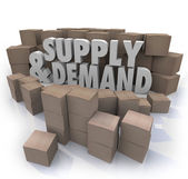 Supply and Demand 3d Words Cardboard Boxes Inventory — Stockfoto