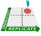 Innovate Replicate Matrix Words Create New Product Duplicate — Stock Photo