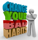 Change Your Bad Habits Thinker Adapting Good Qualities Success — Stockfoto