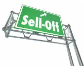 Sell-Off Freeway Sign Selling Stocks Panic Divesting Investments — 图库照片