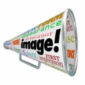 Image Word Bullhorn Megaphone Appearance Impression — Stock Photo