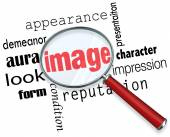 Image Magnifying Glass Appearance Impression Demeanor Words — Stock Photo