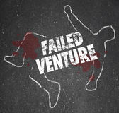 Failed Venture Chalk Outline Startup Business Dead Body Killed — Stock Photo