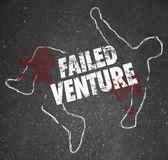 Failed Venture Chalk Outline Startup Business Dead Body Killed — Stock Photo