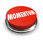 Momentum Word Red Button Moving Forward Progress Success — Stock Photo