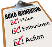 Build Momentum Checklist Clipboard Moving Forward  — Stock Photo