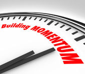 Building Momentum Clock Time Words Moving Forward — Stock Photo