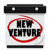 New Venture Wall Calendar Launch Reminder Business Startup — Stock Photo