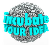 Incubate Your Idea 3d Words Letter Sphere Business Model Brainst — Stock Photo