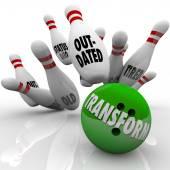 Transform Word Bowling Ball Change Innovation Improvement — Stock Photo