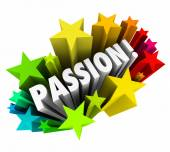 Passion Word 3d Letters Stars Exciting Feeling Intense Emotion — Stock Photo