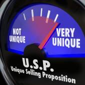 USP Unique Selling Proposition Gauge Level Different Special Qua — Stock Photo