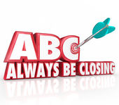 ABC Always Be Closing Target 3d Words Aiming Arrow Bulls-Eye — Stock Photo