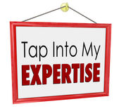 Tap Into My Expertise Store Sign Consultant Business Service — Foto Stock