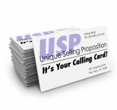 USP Unique Selling Proposition Your Calling Business Card Stak — Stock Photo