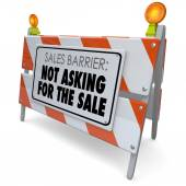 Not Asking for the Sale Words Barrier Selling Rule Process — Stock Photo