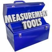 Measurement Tools Gauge Performance Level 3d Words Toolbox — Foto de Stock