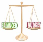 Balanced Budget 3d Words Scale Financial Costs Revenue Equal — Stock Photo