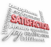 Satisfaction 3d Word Collage Happiness Enjoyment Customer Servic — Stockfoto