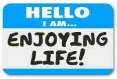 Hello I Am Enjoying Life Name Tag Sticker Relaxation Vacation Re — Foto de Stock