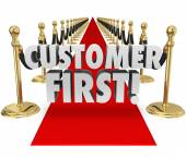 Customer First Words Red Carpet Top Priority Client Service — Foto Stock