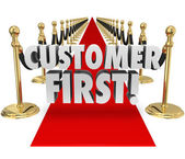 Customer First Words Red Carpet Top Priority Client Service — Stock Photo