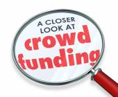 Crowd Funding Closer Look Magnifying Glass Words — Stockfoto