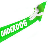 Underdog Word 3d Arrow Man Unexpected Winner Competition — Stock Photo