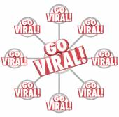 Go Viral Spreading Internet Marketing Message 3d Words Grid — Stok fotoğraf
