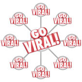 Go Viral Spreading Internet Marketing Message 3d Words Grid — Stockfoto