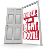 Knock the Right Door 3d Words Find Search Best Customers Solutio — Stock Photo