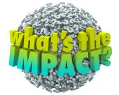 Whats the Impact Question Marks Effect Consequence Result Outcom — Stock Photo