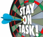 Stay on Task 3d Words Dart Board Complete Job — Stock Photo