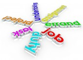 Job Task Errand Undertaking Assignment Duty 3d Words — Stock Photo