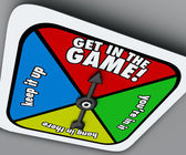 Get In The Game Spinner Compete Win Competition Take Chance — Stock Photo