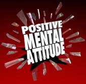 Positive Mental Attitude 3d Words Break Through Glass — Foto de Stock