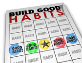 Build Good Habits Bingo Card Develop Strong Skills Growth — Стоковое фото