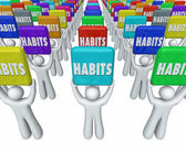 People Holding Habits Words Successful Routines Achieve Goals — Stock Photo