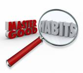 Master Good Habits Words 3d Magnifying Glass — Stock Photo
