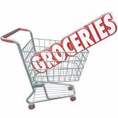 Groceries Shopping Cart Word Store Food Products — Stockfoto