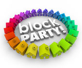 Block Party Houses Neighborhood Community Celebration Event — Stock Photo