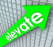 Elevate Word Green Arrow Rising Uplifting Higher Improvement — 图库照片