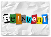 Reinvent Word Cut Out Letters Redo Refresh Rethink — Foto de Stock