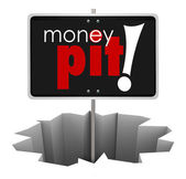 Money Pit Sign in Hole Wasteful Spending Bad Investment — Stock Photo