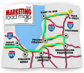 Marketing Road Map Directions Success Launch New Product Busines — Stock fotografie