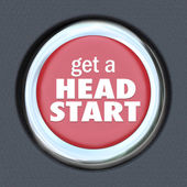 Get Head Start Red Button Competitive Advantage Early Edge — Stock Photo